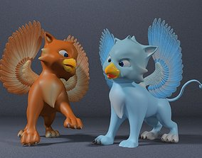 3D model animated Baby Griffin Rigged
