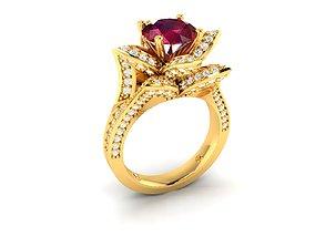 jewelry Women Rose Cocktail Ring 3dm render detail