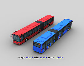 3D asset animated Long Bus with interior