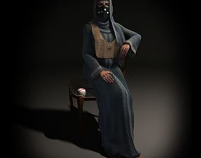 3D Masked Woman In Grey Robe