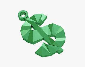 keychains Dollar sign keychain 3D print model