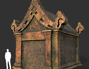 3D asset Low poly Mossy Brick Ruin Asia Temple 06