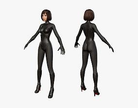 3D model rigged Biker Girl