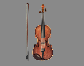 artistic violin and bow 3D