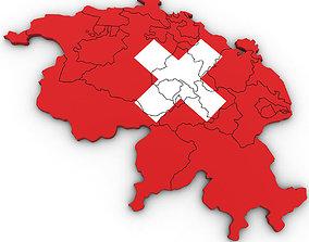 3D Political Map of Switzerland