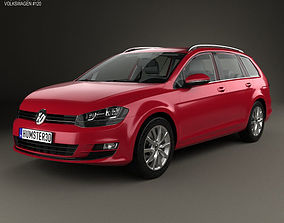 3D Volkswagen Golf variant with HQ interior 2014