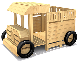 3D asset Playground - Wooden Truck