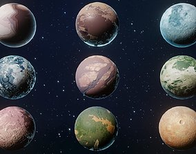 low-poly Alien Sci-Fi Planets 3D Models Pack