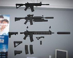 M4 Assault rifle AR 15 Bilder Kit 3D asset
