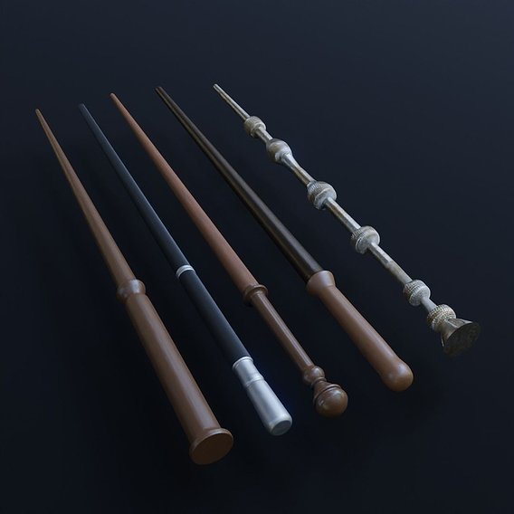 5 Low Poly Harry Potter Wands Pack