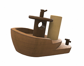 Wooden ship toy 2 3D