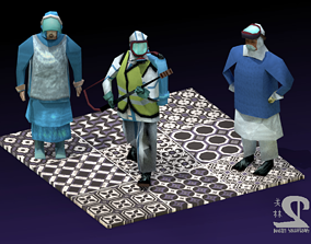 COVID-19 Hazmat Workers 3D model rigged