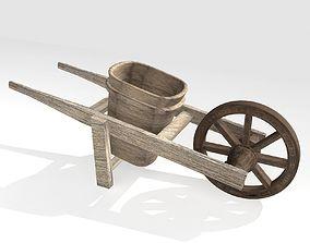 3D asset Wooden Wheelbarrow