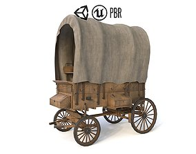 Western Covered Wagon 3D asset game-ready