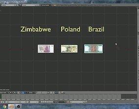 Banknotes of Zimbabwe - Poland - 3D model