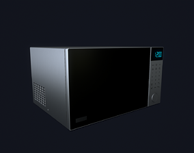 Microwave 3D model low-poly PBR