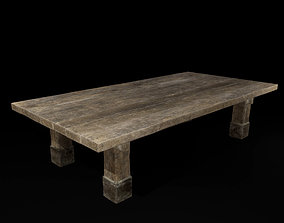 wooden 3D Old Wooden Table