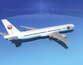 3D model Boeing 777-300 Japan AirLines