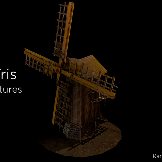 Windmill - Medieval Low-poly 3D model