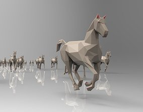 3D asset Low poly running horses - 23pcs posed