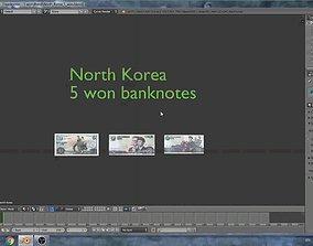 North Korea - 5 won banknotes 3D model