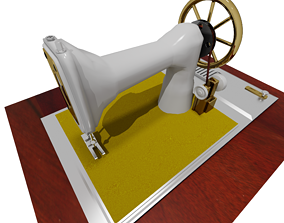 Antique Sewing Machine Low-poly 3D model