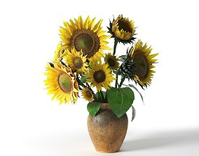 pot 3D model Sunflower in Vase