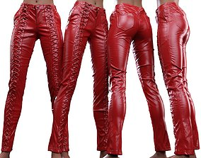 Full Front Laced Leather Pants girl 3D model