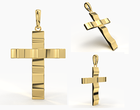 JESUS CROSS GOLD PENDANT 3D print model shining