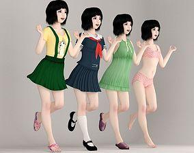 uniform Kayoko various outfit pose 01 3D model