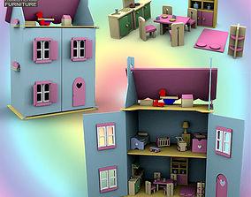 3D asset Doll House Set 01