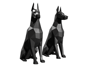 Doberman polygonal dogs Ready for 3D printing