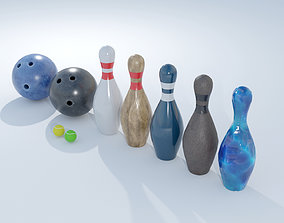 3D asset Bowling and tennis balls and accessories