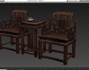 Oriental ancient chair 3D asset