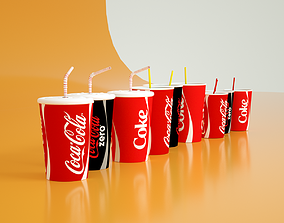 animated Set of Coca-Cola Cups 3D Models