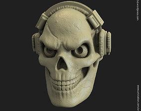 3D print model Skull with headphone vol3 ring