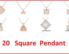 20 Women square pendant 3dm stl render detail bulk