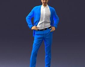Man in blue suit 0375 3D Print Ready