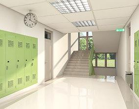 3D model School Hallway 002 green