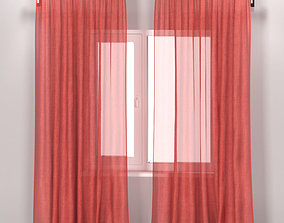 IKEA LEYONGEP - transparent pink curtains from flax 3D