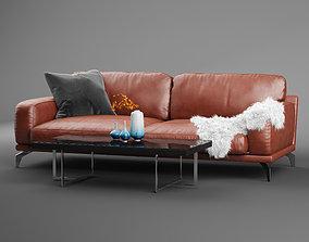 Peruna Leather Two Seat Sofa 3D