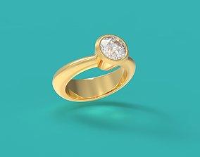BEZEL RING JEWELRY FINE GOLD 24K 3D model
