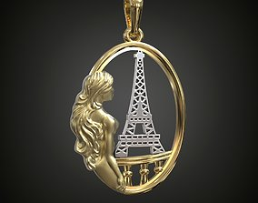 3D print model Girl in Paris Eiffel Tower pendant necklace
