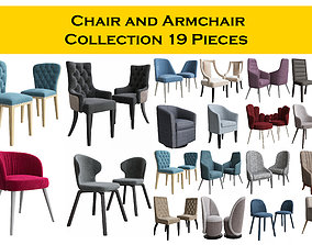 3D Chair and Armchair Collection 19 pieces
