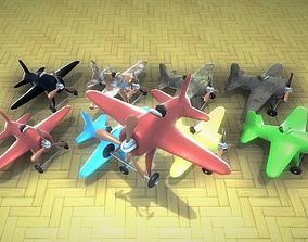 Toy Plane Low-Poly 8 colours 3D model