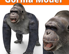 low-poly Gorilla 3D Models game ready low poly