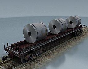 3D asset rail wagon 3