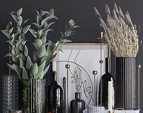 3D model candle Autumn decorative set