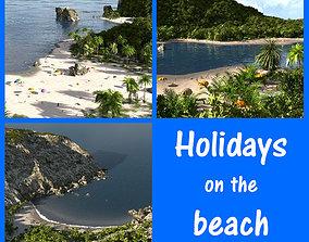 terrain Holidays on the beach in Blender 3D model