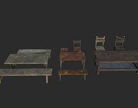 Old bench table and chair 3D model